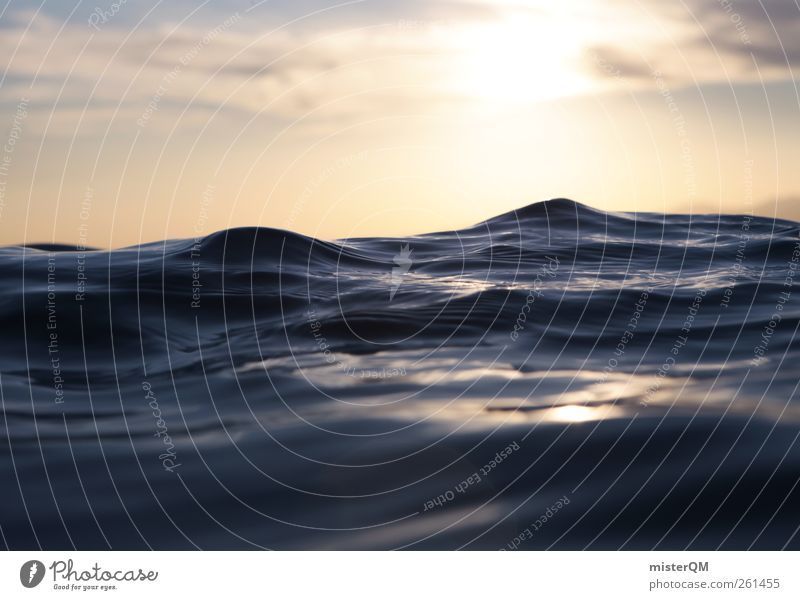 Liquid Mountains. Art Esthetic Contentment Horizon Waves Water Elements Deluge 2012 Nature Beautiful Hope Swell Surface of water Sun Surrealism Perspective Wet