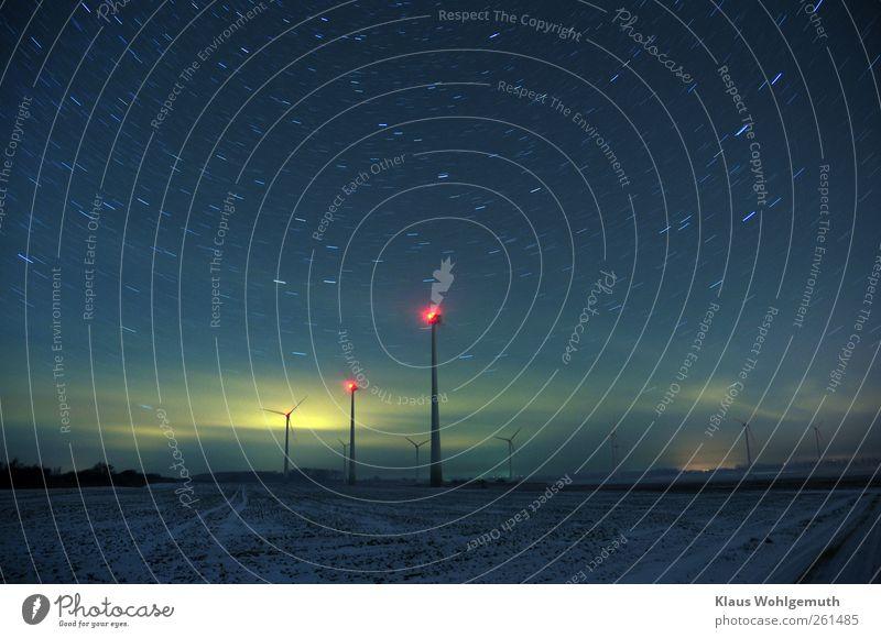 Tempus fugit Energy industry Renewable energy Wind energy plant Landscape Earth Sky Stars Horizon Field Lighthouse Manmade structures Architecture Dark Blue