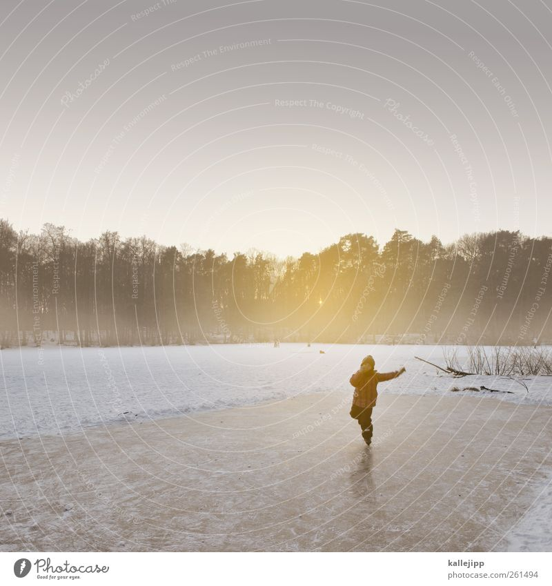 Human being Child Nature Girl Winter Environment Landscape Life Cold Snow Freedom Lake Ice Infancy Fog Leisure and hobbies