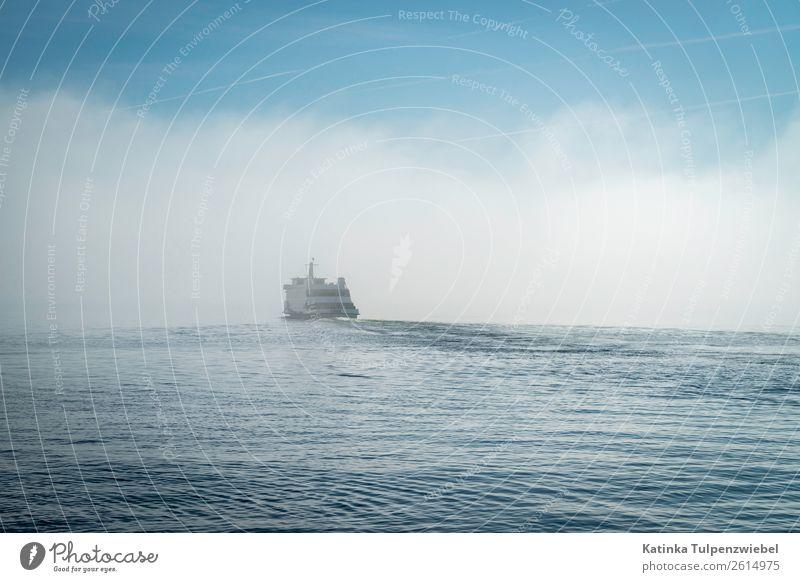 Wellenreiter, Schiff auf einer Welle auf dem Bodensee, Nebel Nature Landscape Elements Water Horizon Spring Fog Waves Lake Landmark Transport Navigation