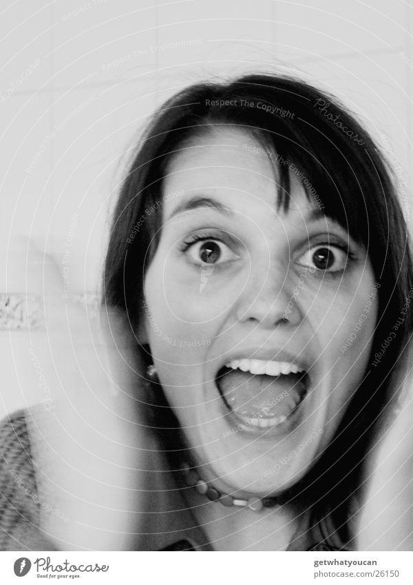 Scream Beautiful Brown eyes Panic Emanation Hand Haste Dark Woman Black & white photo Chain Tile Blur