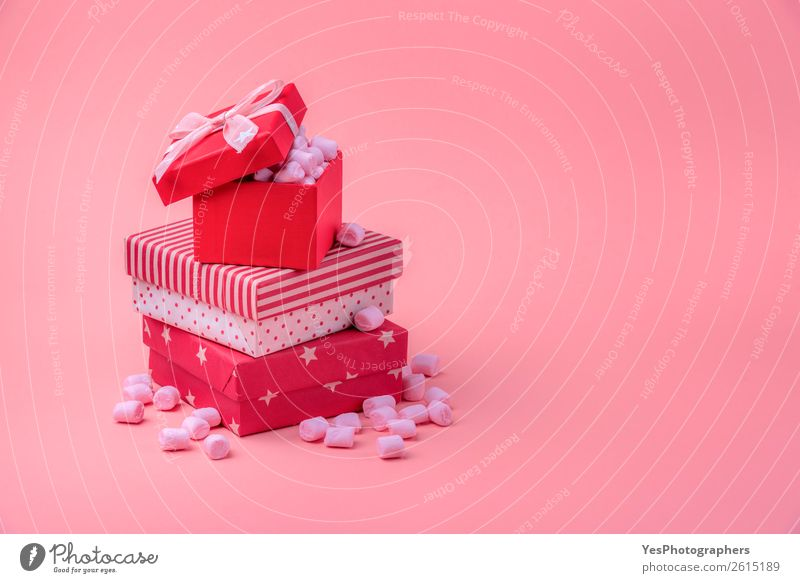 Pile of red gifts with pink marshmallows Food Dessert Candy Feasts & Celebrations Valentine's Day Mother's Day Christmas & Advent Box Happy Small Cute Pink Red