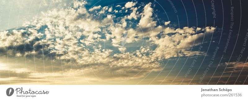 cloud panorama Environment Elements Air Sky Sky only Clouds Sunlight Summer Climate Weather Beautiful weather Blue Esthetic Uniqueness Eternity Hope Moody