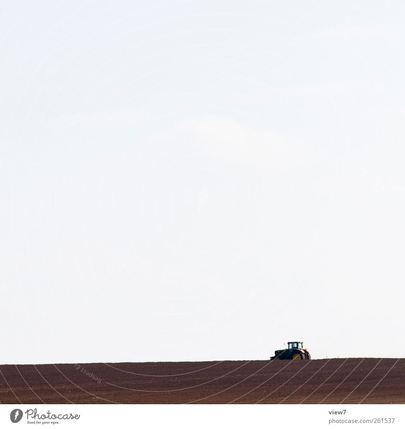 agriculture Workplace Environment Nature Sky Weather Field Vehicle Tractor Authentic Simple Ecological Agriculture Plow Colour photo Exterior shot Deserted