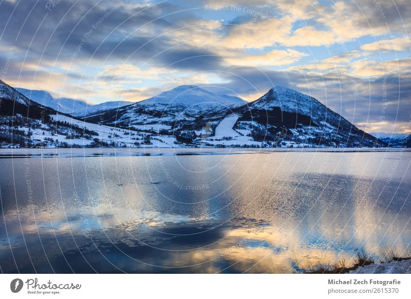 Beautiful view of northern norway fjord Sky Vacation & Travel Nature Summer Blue Landscape Sun Ocean House (Residential Structure) Winter Mountain Snow Coast