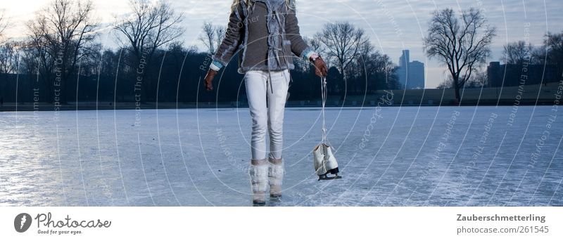 Nature Blue Winter Calm Feminine Cold Movement Lake Legs Moody Ice Going Leisure and hobbies Authentic Frost Uniqueness