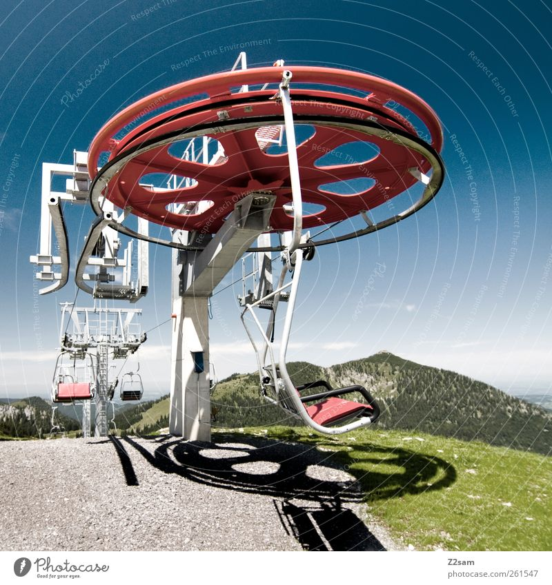 summer and winter Trip Environment Nature Landscape Sky Summer Meadow Alps Mountain Peak Rotate Driving Blue Green Calm Ski lift Chair lift Colour photo