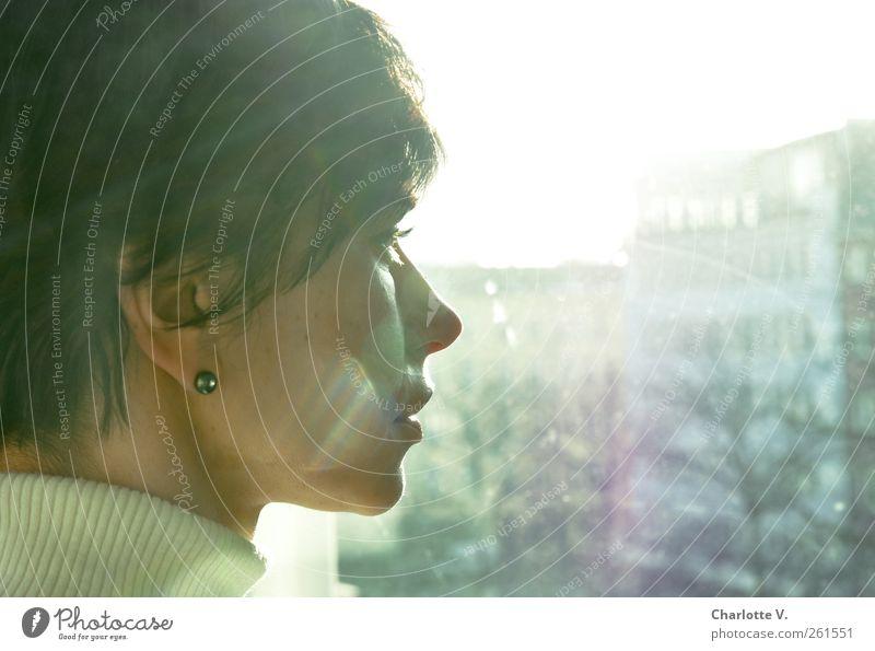 Human being Woman Blue Winter Calm Adults Yellow Feminine Emotions Head Sadness Think Dream Wait Illuminate Hope