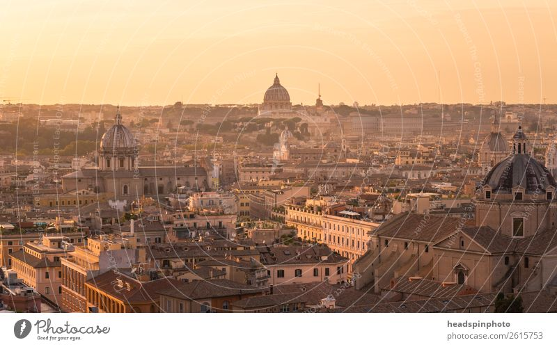 Panorama of Rome at a sunset Italy Vatican Town Capital city Downtown Skyline Church Dome Manmade structures Building Architecture Roof Tourist Attraction