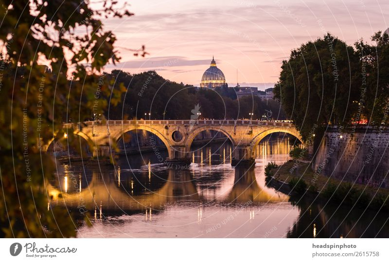 Dome of St. Peter's Cathedral, bridge and Tiber after sunset Vacation & Travel Tourism Trip City trip Summer River bank Rome Italy Vatican Town Capital city