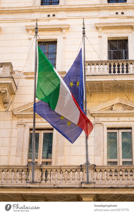 Flag of Europe and Italy in a hug Rome Landmark Emotions Trust Thrifty Fear of the future Effort Symbols and metaphors European European flag