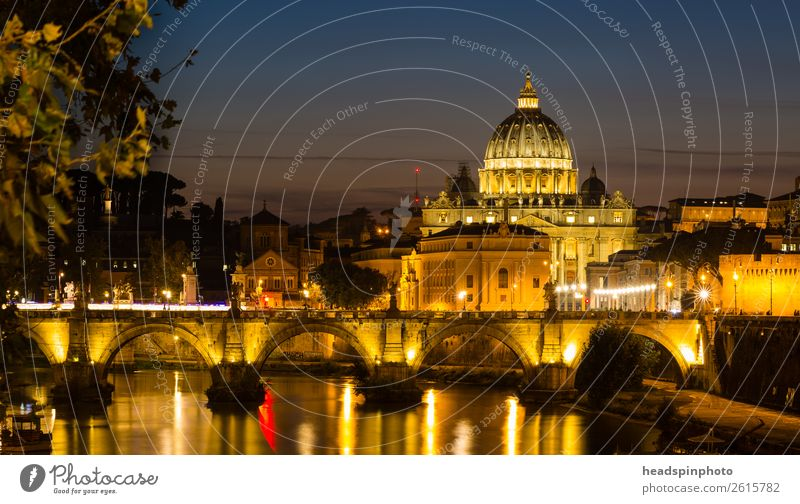 The illuminated St. Peter's Basilica in Rome after sunset Summer River bank Italy Vatican Town Capital city Downtown Skyline Church Dome Bridge