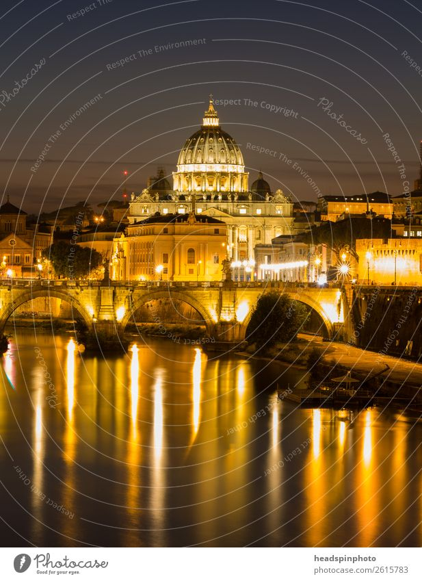 St. Peter's Basilica in Rome with reflections in the Tiber after sunset Night sky Summer River Vatican Capital city Downtown Church Dome Manmade structures