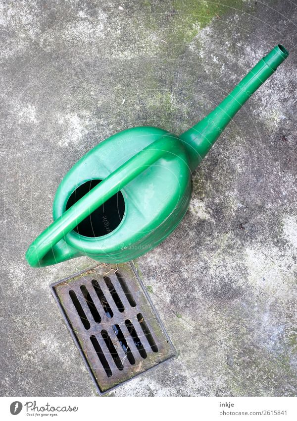 Green watering can Living or residing Deserted Terrace Gully Watering can Simple Gardening Colour photo Exterior shot Day Light Contrast Bird's-eye view