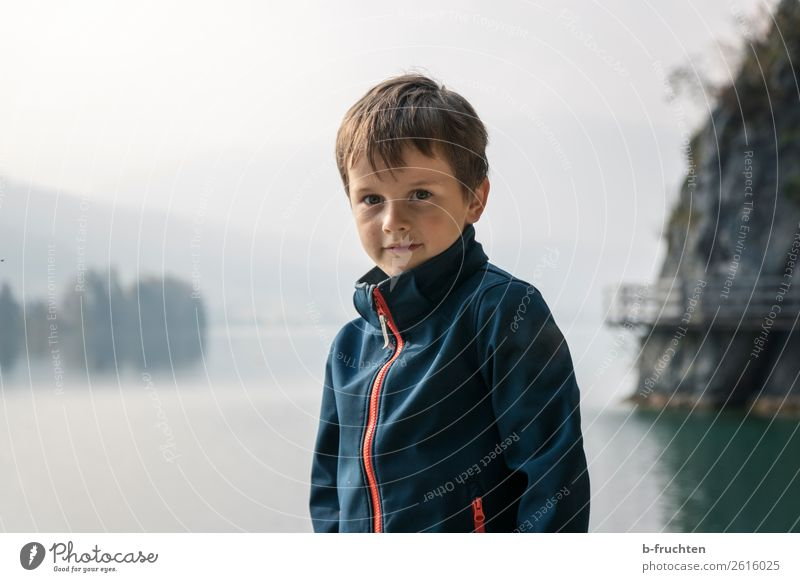 Autumn fog at the lake Adventure Hiking Child Face 1 Human being 3 - 8 years Infancy Nature Fog Lake Lake Wolfgang Observe Stand Dark Loneliness Relaxation