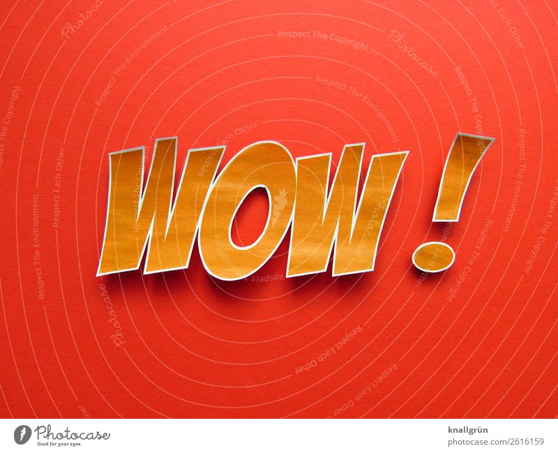 WOW! Characters Communicate Large Orange Red Emotions Joy Enthusiasm Surprise Colour wow Exclamation Impressive Colour photo Studio shot Deserted