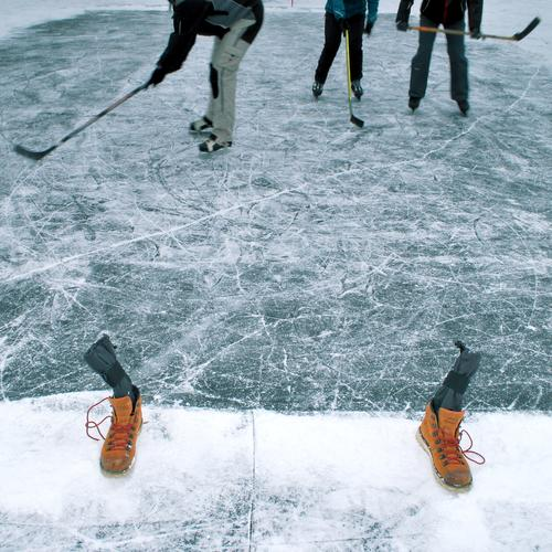 play-off Sports Winter sports Sporting Complex Human being Body Legs Feet 3 Environment Nature Climate Weather Ice Frost Pond Lake Pants Playing Ice hockey