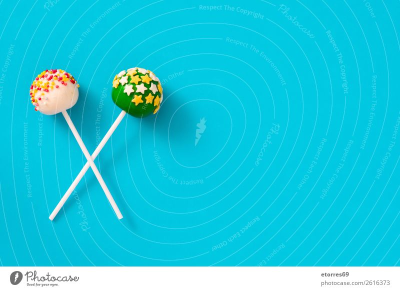 Sweet colorful cake pops on blue background Colour White Food photograph Joy Yellow Party Pink Bright Decoration Candy Cake Baked goods Dessert