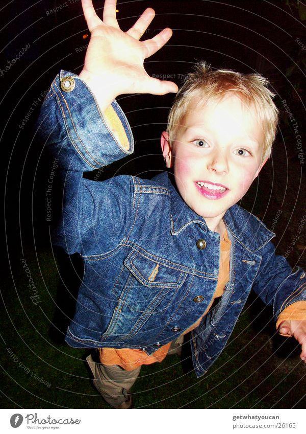 Child Hand Joy Face Eyes Dark Boy (child) Movement Bright Blonde Running Jeans Near Catch Jacket Dynamics
