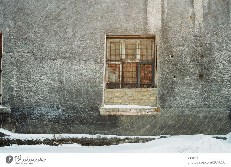windows Industrial plant Factory Wall (barrier) Wall (building) Window Old Fear of the future Grating Brick Closed Derelict Winter Gray Hollow Colour photo