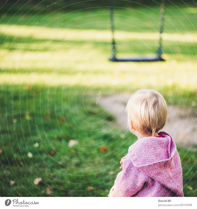 on the playground Healthy Life Harmonious Contentment Playing Human being Feminine Child Toddler Girl Infancy 1 1 - 3 years Nature Observe Swing To swing Think