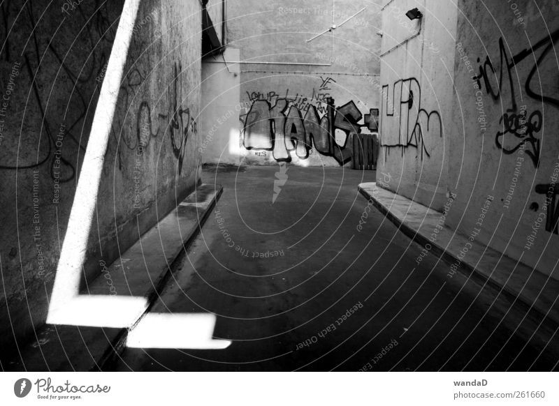 ________________ Town Deserted Alley Wall (barrier) Wall (building) Stone Concrete Sign Characters Graffiti Line Arrow Observe Discover Listening Draw Write
