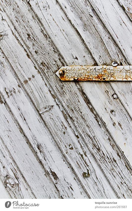 Old White Yellow Wood Gray Dye Metal Door Gold Stripe Derelict Gate Rust Weathered