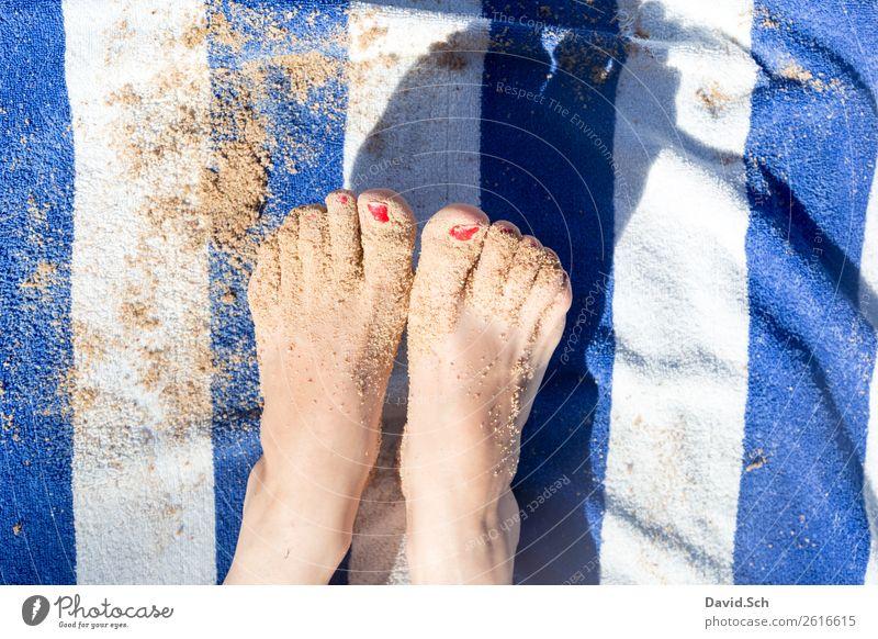 sandy feet on blue/white striped towel Vacation & Travel Tourism Summer Summer vacation Beach Human being Woman Adults Feet 1 Sand Coast To enjoy Feminine Blue