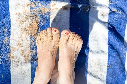 Woman Human being Vacation & Travel Summer Blue White Red Relaxation Beach Adults Yellow Feminine Coast Tourism Feet Sand