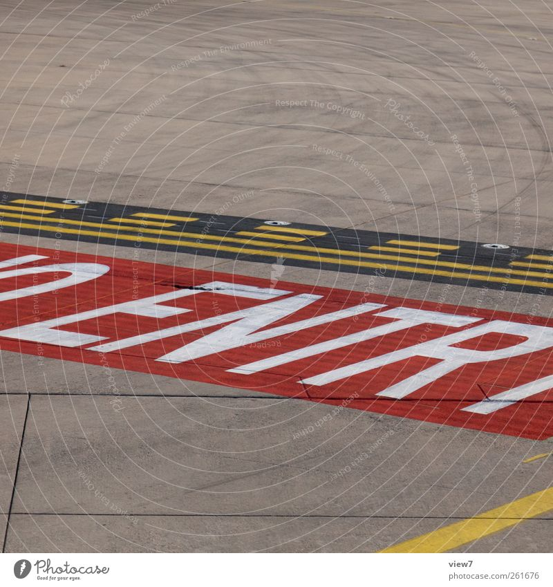 Old Red Colour Stone Line Signs and labeling Concrete Fly Beginning Modern Fresh Characters Aviation Authentic Signage Stripe