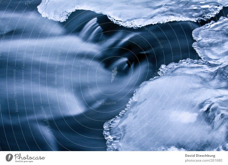 Art of winter Nature Water Winter Ice Frost Brook River Waterfall Blue Black White Movement Current Cold Frozen Winter mood Surface of water Glittering