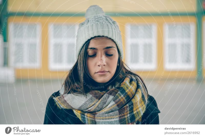 Young girl with closed eyes wearing hat and scarf Woman Human being Beautiful Loneliness Winter Black Street Lifestyle Adults Autumn Sadness Fashion Rain