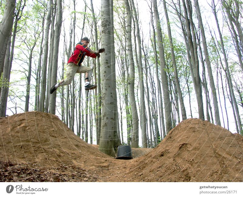 Running Man Jump Stupid Running start Far-off places Empty Ramp Hill Forest Tree Bucket Going Extreme sports Brave Fear too short Gap dirt Sky Earth Idea