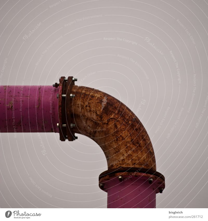 pinkish Conduit Pipe Iron-pipe Rust Metal Pink Colour photo Exterior shot Deserted Copy Space top Day