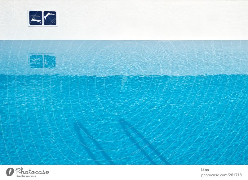 Blue Water White Swimming & Bathing Signs and labeling Stripe Swimming pool Water line