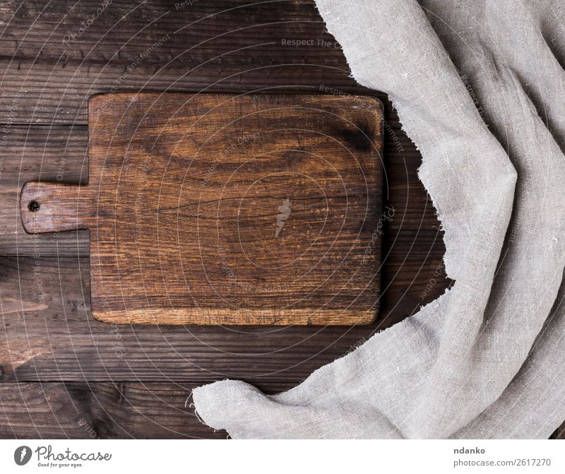 empty kitchen brown cutting board Chopping board Table Kitchen Nature Wood Old Retro Brown background Blank chopping cook cooking Cut food Grunge