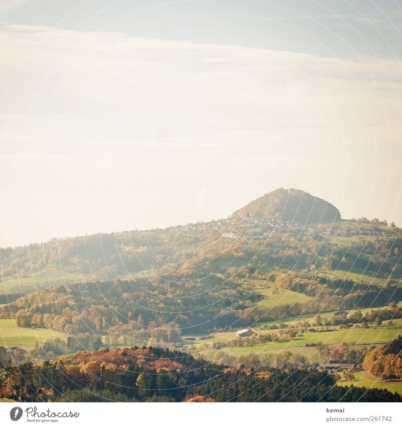 Autumn in November Environment Nature Landscape Plant Sky Clouds Sun Sunlight Beautiful weather Tree Grass Bushes Foliage plant Meadow Field Hill Hohenstaufen