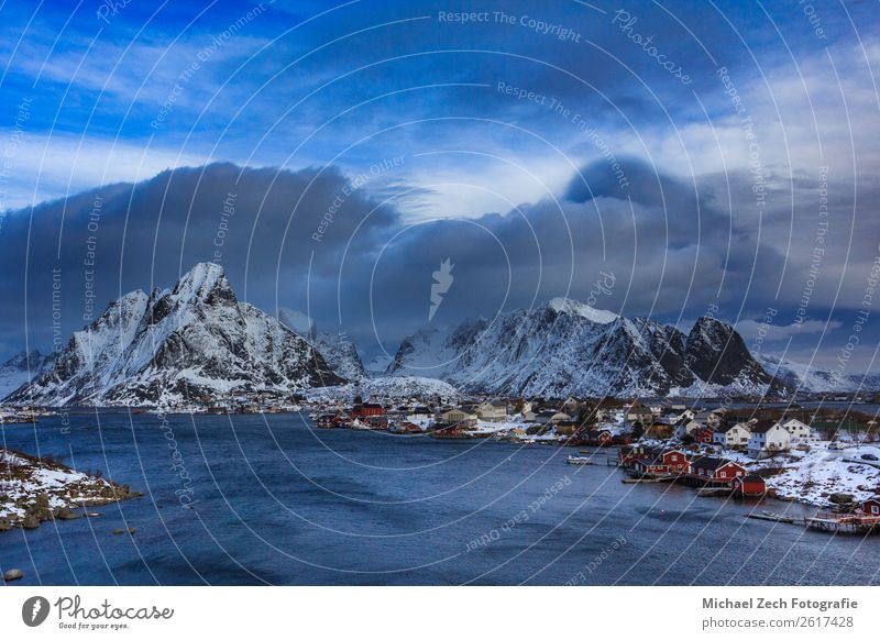fishing village reine on lofoten islands in winter Beautiful Vacation & Travel Ocean Island Winter Snow Mountain House (Residential Structure) Nature Landscape