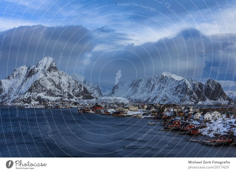 fishing village reine on lofoten islands in winter Sky Vacation & Travel Nature Blue Town Beautiful Landscape White Red Ocean House (Residential Structure)