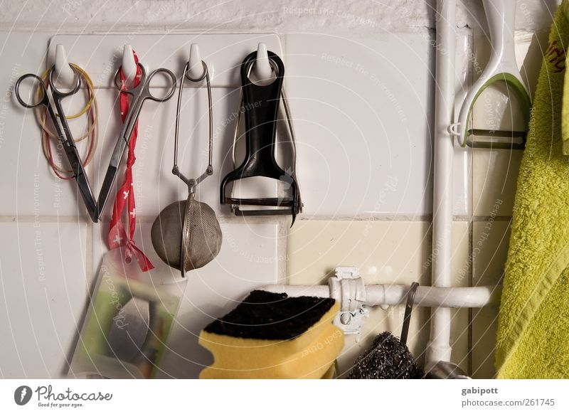 City Life Authentic Uniqueness Things Clean Kitchen Tile Crockery Hang Scissors Photos of everyday life Normal Do the dishes Sponge Cleanliness