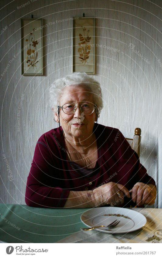 cake time Kitchen Feminine Female senior Woman Grandmother Skin Hand 60 years and older Senior citizen Eyeglasses White-haired Curl Looking Sit Wait Green