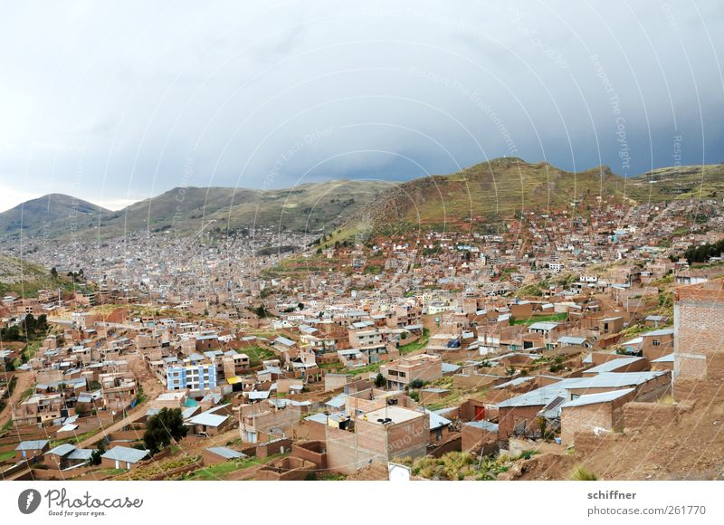 Take a deep breath - Puno Storm clouds Bad weather Hill Mountain Small Town Outskirts House (Residential Structure) Detached house Manmade structures Building