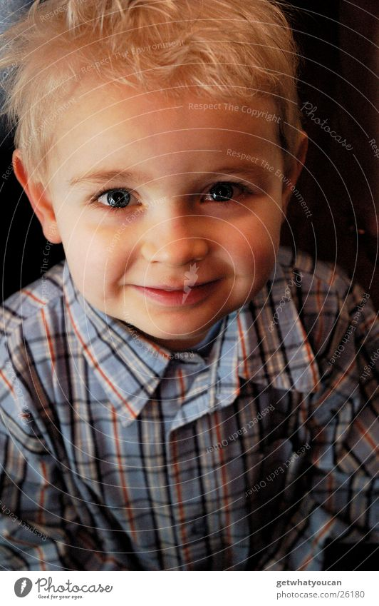 Human being Child Beautiful Face Eyes Boy (child) Above Warmth Laughter Small Blonde Sweet Cute Clean Soft Physics