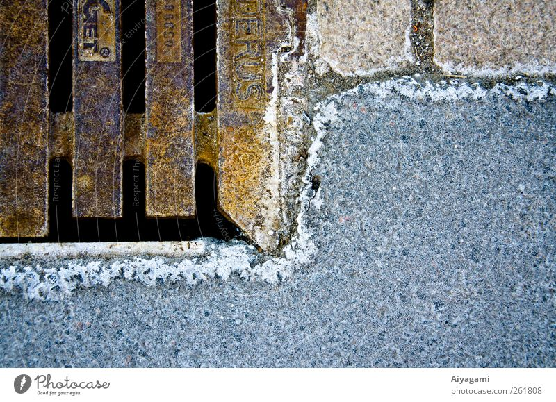 Icy Corrosion and Asphalt Winter Ice Frost Street Stone Metal Crystal Cool (slang) Oxydation Sewer Surface Consistency Withered Rust Cold Gully Exterior shot