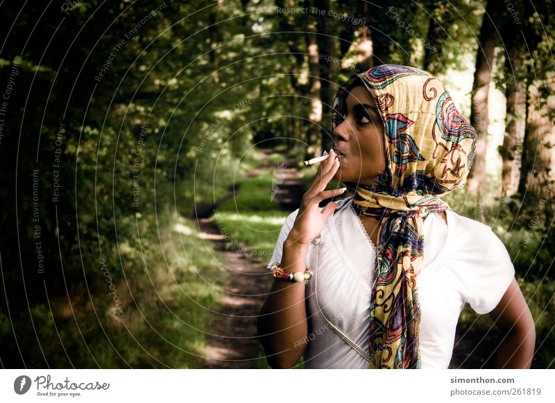 smoking in the forest Lifestyle Elegant Style Human being Feminine Young woman Youth (Young adults) 1 18 - 30 years Adults Fashion Cloth Jewellery Headscarf