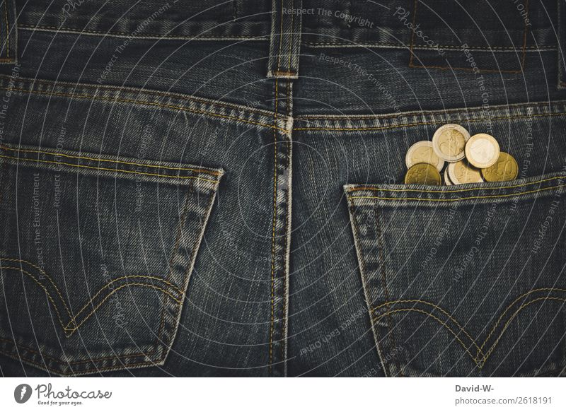 Money - pocket money in your pocket Euro coins Pants Trouser pocket euro coins Luxury Poverty Save Loose change Financial Industry Coin Paying Income Shopping
