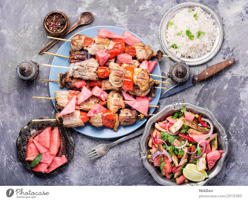 Shish kebab with watermelon garnish skewer barbecue fruit food meat grill bbq grilled beef dinner pork cuisine lunch shashlik shish roasted plate summer tasty