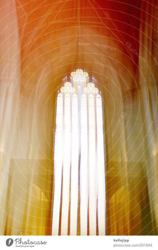RISEN FROM POWER Church Dome Window Multicoloured Church window Cathedral Resurrection Gothic period Architecture Bright Heaven Colour photo Interior shot