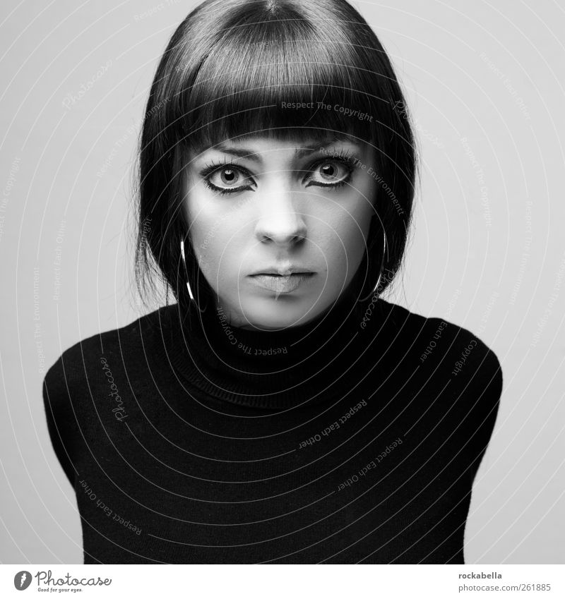 Portrait woman Feminine Young woman Youth (Young adults) 1 Human being 18 - 30 years Adults Fashion Sweater Brunette Short-haired Bangs Esthetic Elegant pretty