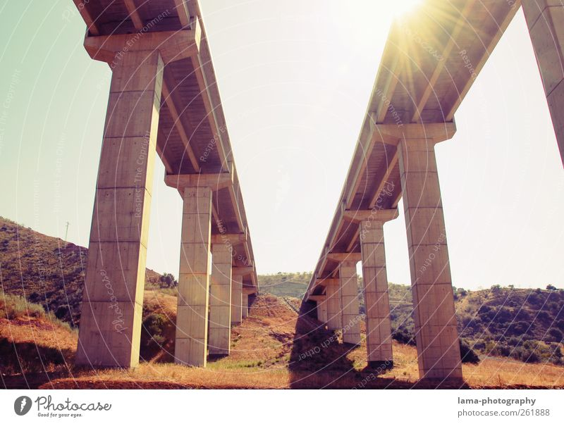 Vacation & Travel Architecture Tall Concrete Transport Bridge Manmade structures Highway Traffic infrastructure Connection Column Spain Means of transport